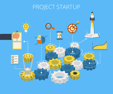 emprendimiento: Isom�trico ilustraci�n infograf�a 3D del proceso de inicio del proyecto con engranaje e iconos de contorno planas