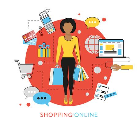 cosmetics bag: Flat contour modern illustration of woman doing shopping online Illustration