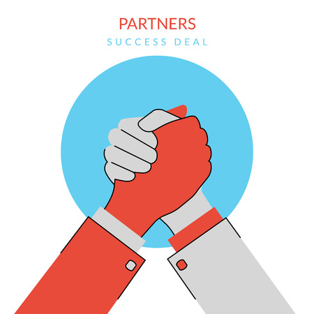 partners: Conceptual Illustration of competition between two business men. Flat contour modern style Illustration