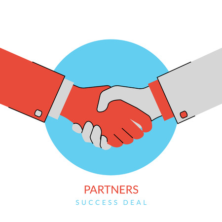 business deal: Two business partners agreed a deal and doing handshaking. Flat contour modern style