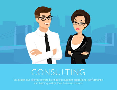 asian professional: Professional business man and woman on blue background Illustration