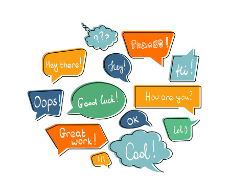 dialogue: Flat contour speech bubbles in different colors isolated on white Illustration