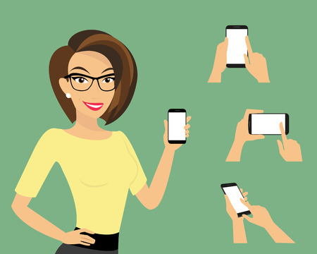woman smartphone: Woman showing something displayed on smartphone and three samples of hands with smartphones.