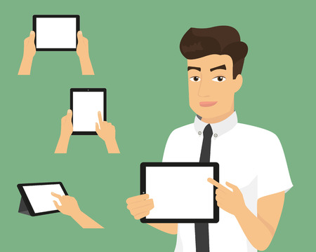samples: Man showing something displayed on tablet pc and three samples of hands with tablets. Illustration