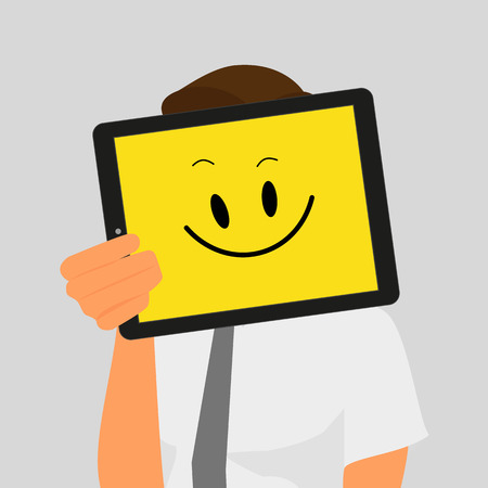 smiles: Guy holds tablet pc displaying yellow smile. Illustration