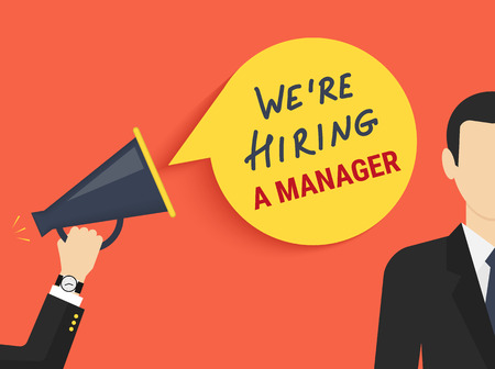 recruitment icon: Hand holding megaphone with bubble speech hiring a manager