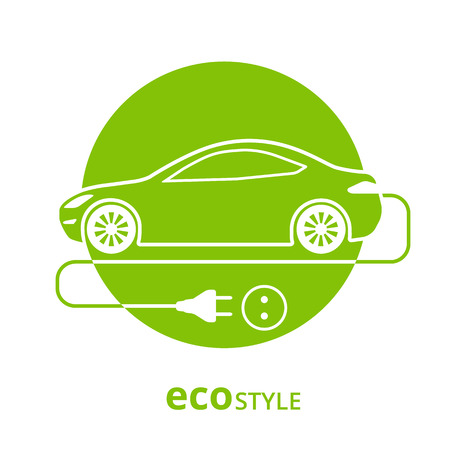 electro: Vector illustration of electro car green icon isolated on white Illustration
