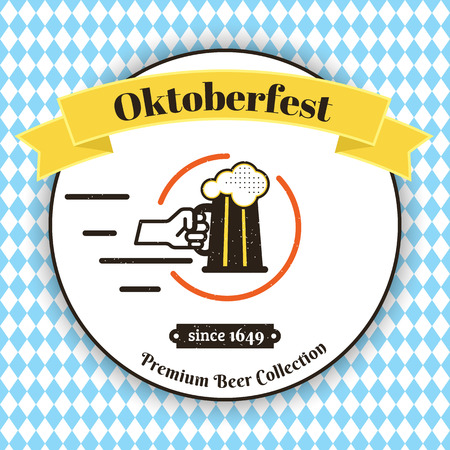 overflow: Oktoberfest poster with yellow ribbon and vintage graphic of human hand holds big glass with beer