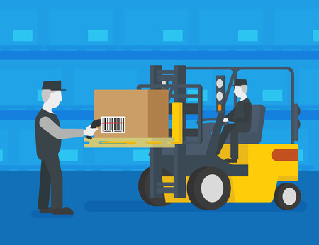 Worker wearing uniform is scanning a box with barcode at the warehouse.