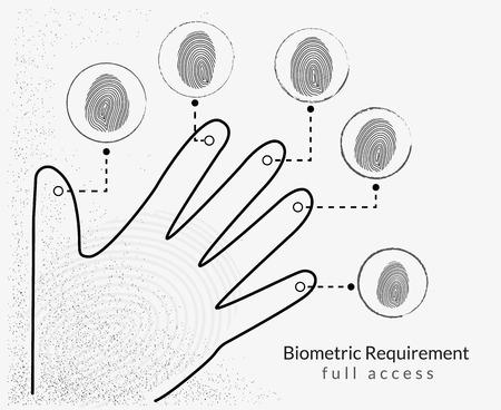 theft proof: Fingerprint scanning infographic illustration with five different fingerprints
