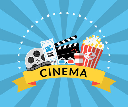 Flat illustration of cinema industry symbols such as Pop corn, 3d glasses, ticket, film Vectores