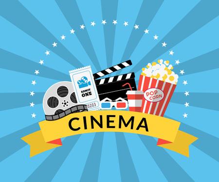 cinta pelicula: Ilustración plana de los símbolos de la industria del cine como el maíz Pop, gafas 3D, boleto, película