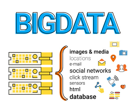 visualisation: Infographic concept flat contour illustration of Big data - 4V visualisation.
