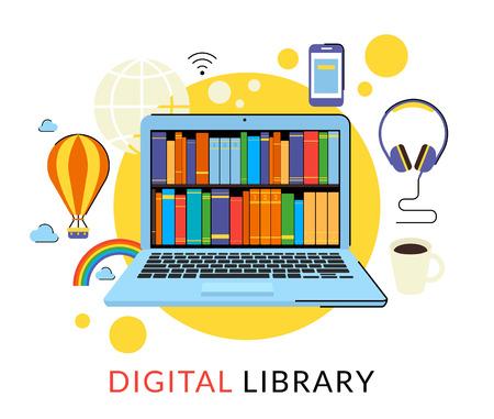 Flat contour illustration d'un ordinateur portable avec une bibliothèque numérique dans la boutique en ligne Vecteurs