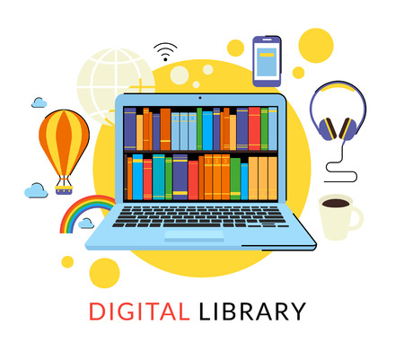 digital learning: Flat contour illustration of laptop with digital library in the web store
