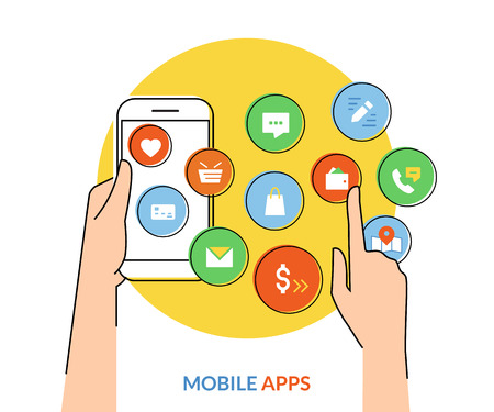 mobile apps: Flat contour illustration of human hand holds a smartphone with mobile apps icons