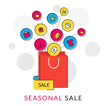 shopping: đường viền minh họa bằng phẳng của túi mua sắm màu đỏ với các biểu tượng thương mại để bán