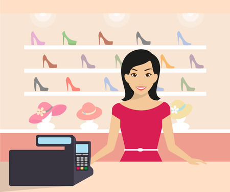 shop assistant: Friendly woman is working in the shoe shop. Flat modern illustration