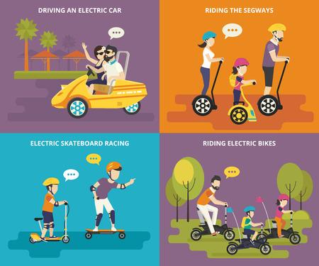 niños en bicicleta: Familia con niños iconos planos del concepto establecido de conducir un coche eléctrico, montar bicicletas y segways con los niños, y las carreras de patín eléctrico