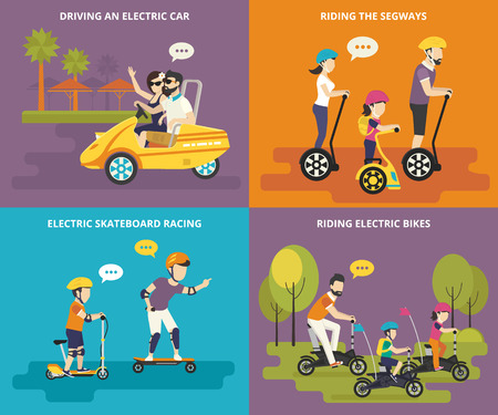 Family with kids concept flat icons set of driving an electric car, riding segways and bikes with children, and electric skateboard racing