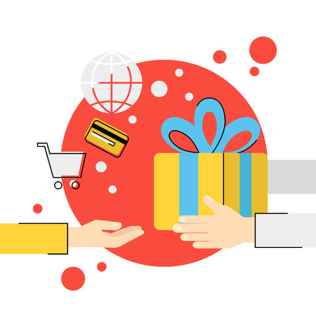 online shopping: Flat vector illustration of hands giving gift box to hands of receiver isolated red icon