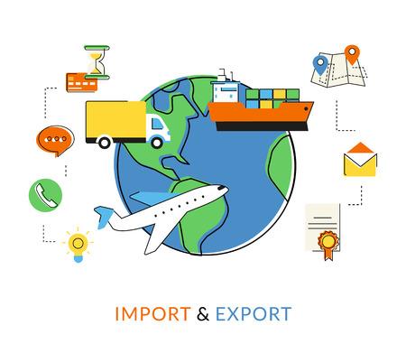 フラット輪郭図をインポートおよびエクスポートまで飛行機、船、商業トラック配信