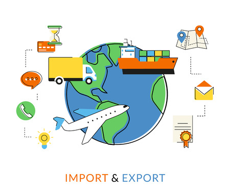 Flat contour illustration of import and export delivery by airplane, ship and commercial truck Ilustração