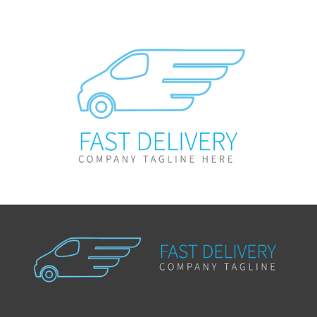 delivery icon: Contour  of fast delivery van in two colors