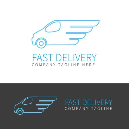 Contour van de snelle levering van in twee kleuren Vector Illustratie