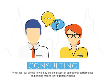Consulting business flat contour illustration of business woman and male consultant with speech bubbles.
