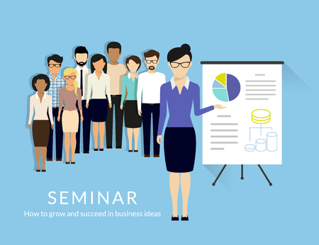 seminar: Business seminar with managers and business trainer.   Illustration