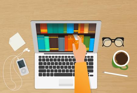 biblioteca: El hombre elige libros electrónicos en la tienda de Internet desde su ordenador portátil colocado en la mesa de madera realista