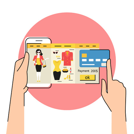 mobile application: Flat contour illustration of mobile app for women online shopping of fashion dress