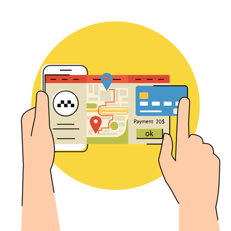 get in touch: Flat contour illustration of mobile app for booking taxi Illustration