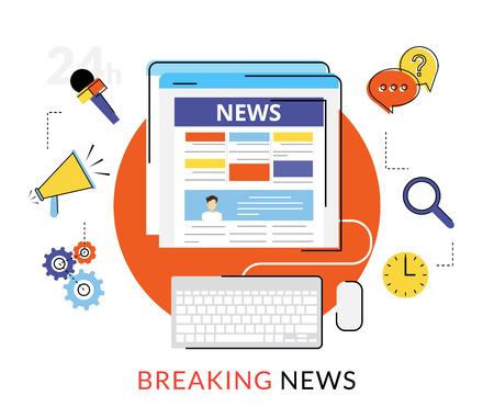 Ilustración de contorno plano de lectura de noticias en línea en internet Ilustración de vector