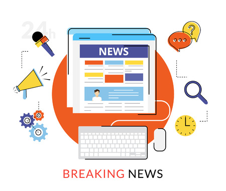 Płaski kontur ilustracji internetowych wiadomości czytania w internecie Ilustracje wektorowe
