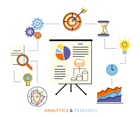 presentation board: Flat contour illustration of analytics process with presentation board and symbols