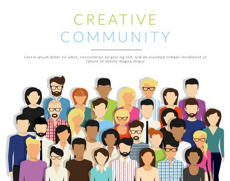 sociedade: Grupo de pessoas criativas isolado no branco. design moderno plano. texto esbo