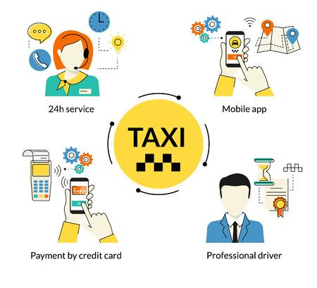 cab: Contorno proceso concepto de ilustraci�n plana de la reserva de taxi a trav�s de aplicaciones m�viles Vectores