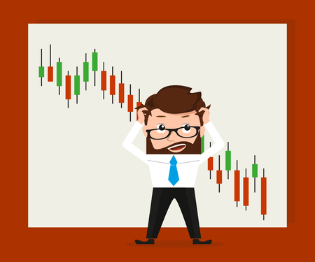 sad men: Financial exchange binary option of online trading in the market conceptual illustration of stressed broker and global black day