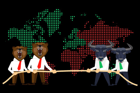 bear market: Financial market conceptual illustration of competition between wolfs and bears on global black day