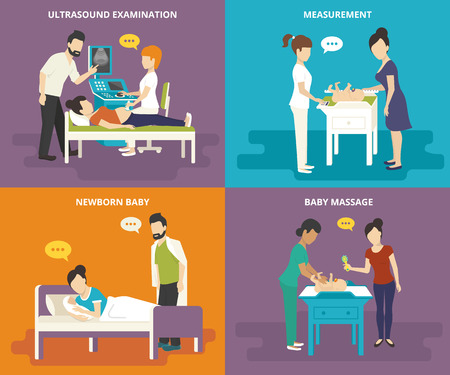 pregnant woman with husband:   Family concept flat icons set of ultrasound examination, birth, measurement of growth and weight, and doing baby massage Illustration