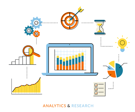 web page: Flat contour illustration of analytics process with laptop and symbols