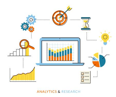 database: Flat contour illustration of analytics process with laptop and symbols