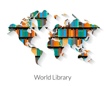 Biblioteca del mundo ilustración contorno plana con sombra sobre fondo blanco.