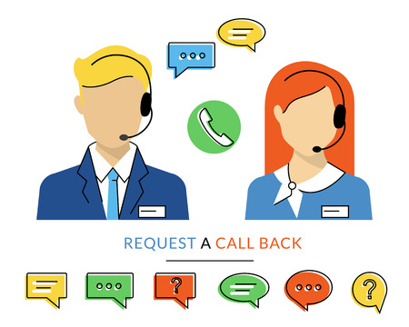 verbal communication: Female and male call centre operator with headset. Flat contour moderm style