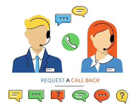 fila de personas: Hembra y macho operador del centro de llamadas con el auricular. Estilo moderm contorno plano Vectores