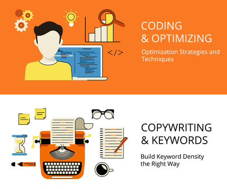 seo process: Infographic flat contour process of coding and copywriting as a part of SEO