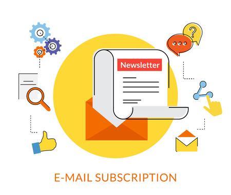 newsletter template: Flat contour illustration of daily newsletter with socal media line icons Illustration