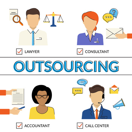 accountants: Four flat contour illustrations of types of outsoursing for business start-up. Lawer, consultant, accountant, call center operator